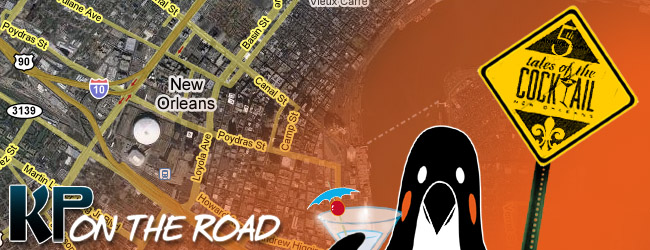 Kaiser Penguin goes to Tales of the Cocktail in New Orleans - a map in the background shows the city