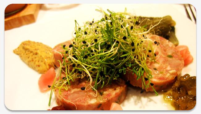 hog's head cheese with radish and shallot vinaigrette