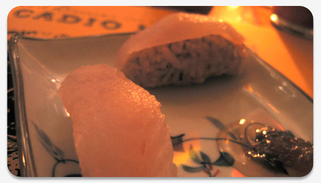 flounder sushi with rose petal rice
