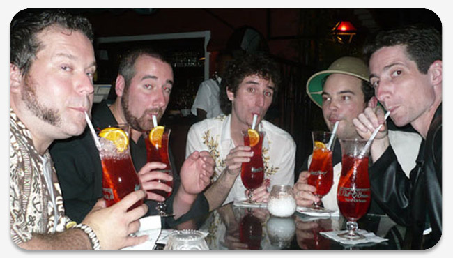 Craig, Rick, Jay, Blair, and Seamus drinking delicious hurricanes